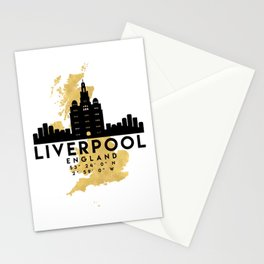 LIVERPOOL ENGLAND SILHOUETTE SKYLINE MAP ART Stationery Cards