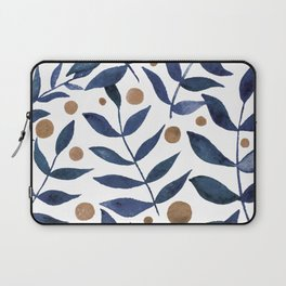Watercolor berries and branches - indigo and beige Laptop Sleeve