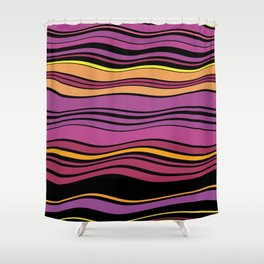 POPTART - bright layers of pink orange black stripes Shower Curtain