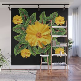 BLACK & YELLOW COREOPSIS   FLORAL ART DESIGN Wall Mural