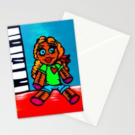 Heart Voodoo Doll with piano keys background Stationery Cards