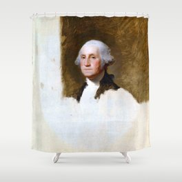 """Gilbert Stuart """"Portrait of George Washington (The Athenaeum Portrait)"""" Shower Curtain"""