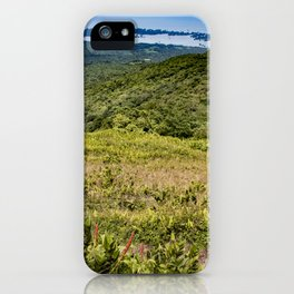 View down the Side of Mombacho Volcano towards Lake Nicaragua with Red Wildflowers iPhone Case