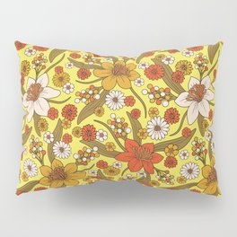 1970s Hippy/Flower Power Yellow, Orange & Brown Pattern Pillow Sham