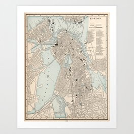 Vintage Map of Boston MA (1893) Art Print