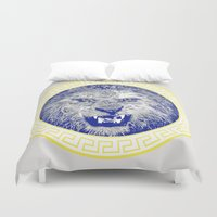 versace Duvet Covers featuring Versace Lion by Hans Poppe