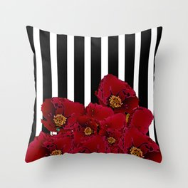 Poppy Stripes - Red Throw Pillow