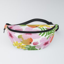 Tropical hibiscus and mango pattern Fanny Pack