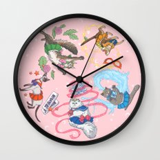 Sailor Kitties Pink Pattern Wall Clock