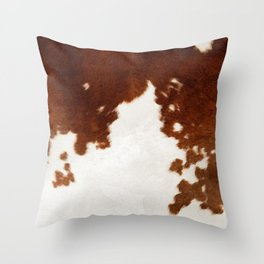 brown cowhide watercolor Throw Pillow