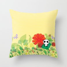 panda and flowers Throw Pillow