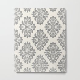 Floral Damask Pattern – Neutral Medium Gray and Light Beige Metal Print
