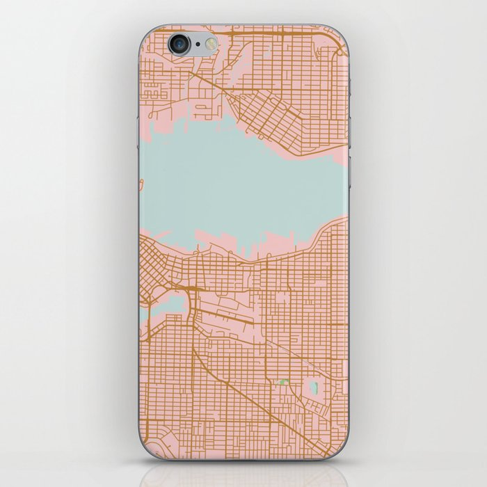 Pink and gold Vancouver map, Canada iPhone Skin