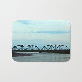 Train Bridge at Dusk Bath Mat