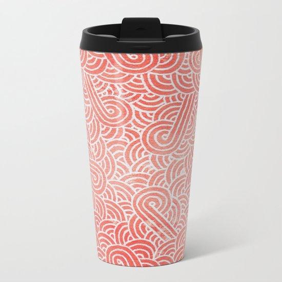 Peach echo and white swirls doodles Metal Travel Mug