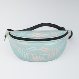 Palm Leaves Lace on Aqua Fanny Pack