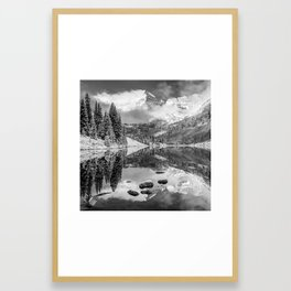 Maroon Bells Autumn Mountain Reflective Landscape - Black and White 1x1 Square Format Framed Art Print