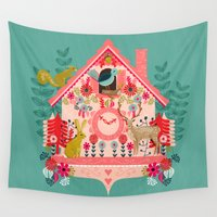 valentines Wall Tapestries featuring I'm Cuckoo For You - Valentines Cuckoo Clock  by Andrea Lauren Design