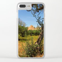 Italy, olive trees and an ancient abbey Clear iPhone Case