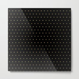 Black and Gold X cross sign pattern Metal Print