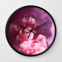 Pink Clouds Smoke Wall Clock