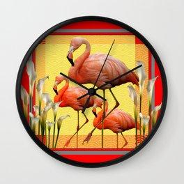 SURREAL FLAMINGOS CALLA LILIES RED ART Wall Clock