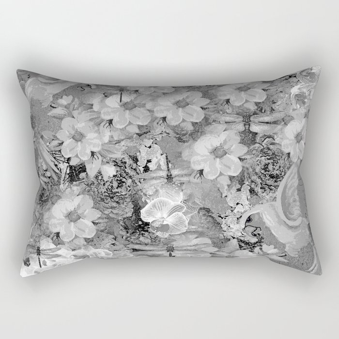 PARROTS MAGNOLIAS ROSES AND HYDRANGEAS TOILE PATTERN IN GRAY AND WHITE Rectangular Pillow