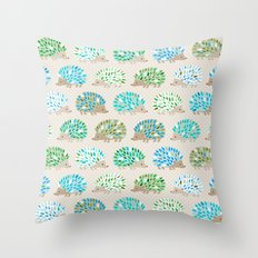 Hedgehog polkadot in green and blue Throw Pillow