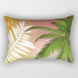 Tropical Palm Tree Palm Fronds & Gold Metallic Rectangular Pillow