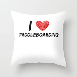 I Love Paddleboarding Throw Pillow