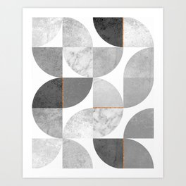 Marble Gray Copper Black and white circles Art Print