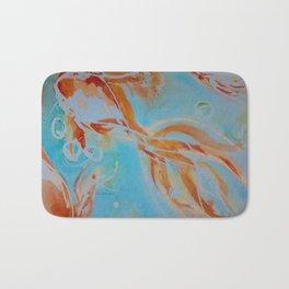 GoldFish Bubbles 1nw watercolor by CheyAnne Sexton Bath Mat