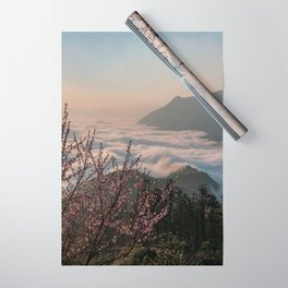 Peach flowers on high mountains in sapa, vietnam, sunlight, early morning Wrapping Paper