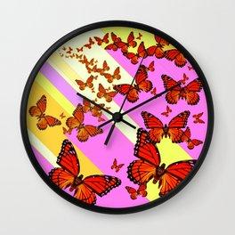 Sun Light Beams Butterflies Migrating Pink-yellow Wall Clock