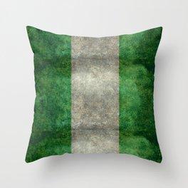 National flag of Nigeria, Vintage retro style Throw Pillow
