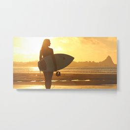 Surfer on the Beach (Woman) Metal Print