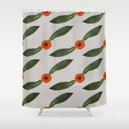 Retro Leaf and Orange Gerbera Floral Pattern Shower Curtain