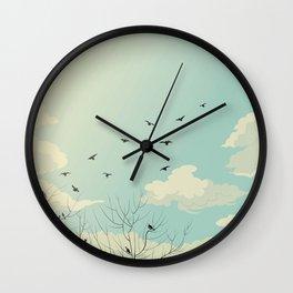 Fly Away - Watercolor Sky with Birds In Flight Wall Clock