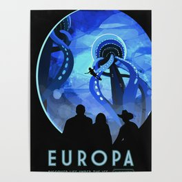 Europa Space Travel Retro Art Poster