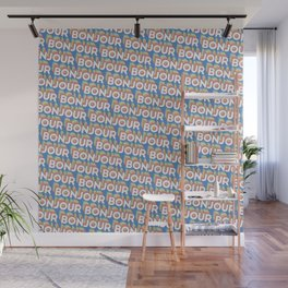 'Bonjour' Trendy Rainbow Text Pattern (Blue) Wall Mural