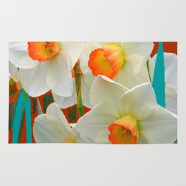 WHITE-GOLD NARCISSUS FLOWERS BLUE-BROWN Rug