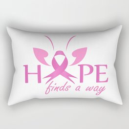 Hope finds a way- Pink ribbon with butterfly to symbolize breast cancer awareness Rectangular Pillow