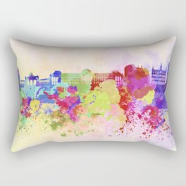 Brussels skyline in watercolor background Rectangular Pillow