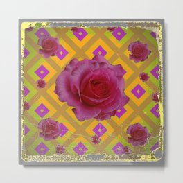 GRUNGY ANTIQUE PINK ROSE PATTERN Metal Print