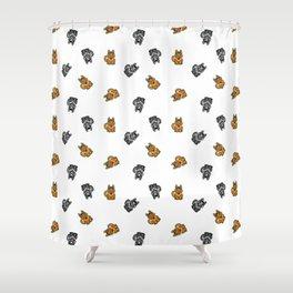 Yellow & Gray Dog Shower Curtain
