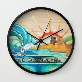 Sea, Sun and Gummibears Wall Clock