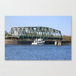 Swing Bridge And Boat Canvas Print