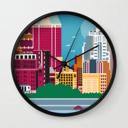 Brooklyn, New York - Skyline Illustration by Loose Petals Wall Clock