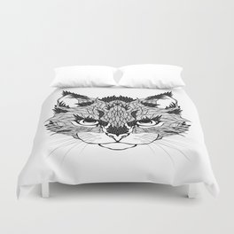 WILD CAT head. psychedelic / zentangle style Duvet Cover