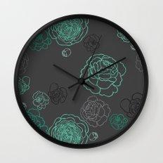 Aqua Peonies Wall Clock